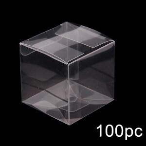 100 Wedding Favor Box Plastic Sweet Transparent PVC Cube Cake Gift Candy Bags