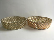 "Lot of 2 Accent Decor Gold Mercury Glass Shallow Bowl Dish 9.25"" D Antique Table"