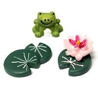 3pcs Miniature Plant Pots Bonsai Craft Micro Landscape DIY Frog Lotus Leaf HY