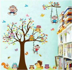 Family Home Wall Sticker Cartoon Monkey&Owls Tree Decal Art Children's Bedroom