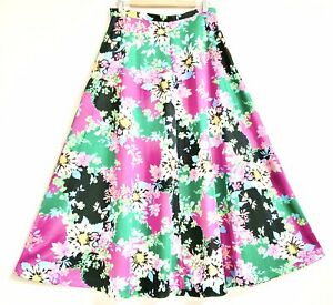 Vintage 1960s Pink Green Blue Black Yellow Retro Floral A-line Maxi Skirt 12-14