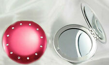 CUTE RED HIGH GLOSS ROUND DIAMOND COMPACT DOUBLE MAGNIFIED MIRROR 7CM WIDTH FOR
