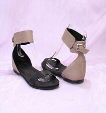 Laura Bellariva 4600 Black / Taupe Leather Ankle Strap Sandals 39.5 / US 9.5
