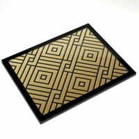 Glass Placemat 20x25 cm - Gold Geometric Pattern Art Deco  #12555