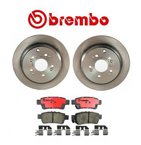 For Honda Odyssey '05-'10 Rear Brake Kit Coated Disc Rotors Ceramic Pads Brembo