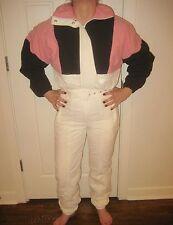 Vtg 80s FORTE Color Block Womens 6 One piece suit SKI Bunny BIB Coat Snowsuit