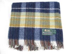 Travel rug  Wool picnic blanket  Blue plaid   Bronte Tweeds  Excellent condition