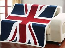 Union Jack British Flag Fleece Rug Throw Blanket Cover - Bed Couch Rug - New