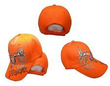 Deer Skull Hunter Predator Horns Neon Bright Orange Embroidered Cap Hat