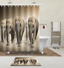 "72x72"" African Elephant Herd Waterproof Fabric Shower Curtain Set Bathroom Hooks"