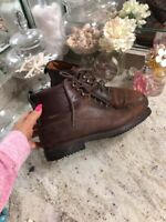 Mens Cole Haan Leather Lace Up Boots Brown Size 11 Casual Nubuck Pebbled