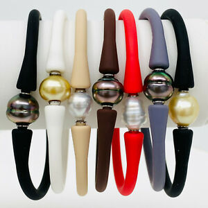 Tahitian South Sea Pearl Silicone Rubber Bracelet Bangle Elastic Assorted Colors