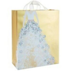 "Hallmark Gold Metallic Wedding Dress X-Large Gift Bag, 15.5"""