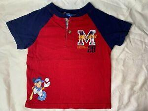 Boy's Disney Kids Size 4T - Red Short Sleeve Mickey Baseball Tee Top Shirt - CP