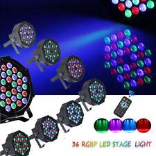 36 LEDs 80W 10PCS Par Stage Light RGB DJ DMX Disco Wedding Uplighting + 10Remote