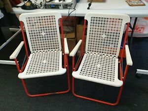 2X Vintage red and cream plastic garden chairs