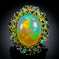 Top Special 26ct AAAA+  Natural Opal 925 Sterling Silver Ring Size 8.5/R70683
