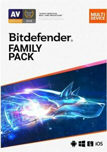 BITDEFENDER FAMILY PACK 2021 - WITH 200MB VPN 15 DEVICES 1 YEAR DOWNLOAD EU UK