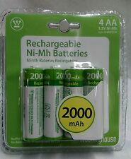 NEW STOCK!!  4 AA WESTINGHOUSE RECHARGEABLE BATTERIES 2000 mAh 1.2V Ni-Mh