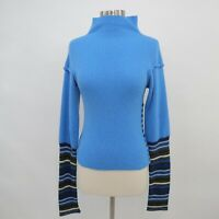 D&G Dolce&Gabbana Pullover Sweater Womens XS Knit Blue Striped Buttons Angora