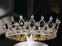 Women Dark Purple Rhinestone Crystal Bride Queen Hair Headband Crown Tiara