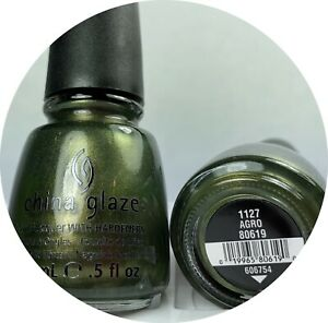 China Glaze Nail Polish Agro 1127 Metallic Olive Green W Gold Fleck Hunger Games