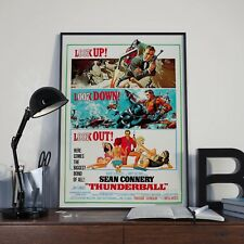 Vintage 007 James Bond Thunderball Connery Movie Film Poster Print Picture A3 A4