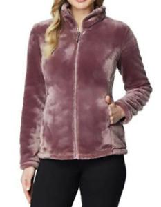 32 DEGREES Womens Plush Luxe Fur Super Soft Full Zip Jacket Outwear, Odyssey, XL