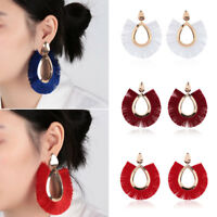 Women Vintage Big Fringe Tassel Bohemian Hanging Drop Earrings