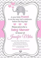 Elephant Baby Shower Invitation, Girl, Pink Grey