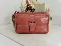 Hobo International Pink Leather Clutch Wallet Wristlet Wrist Strap Bag Organizer