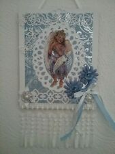 Wall plaque,blue 3D fairy image, girls picture,flowers and pearls wall art