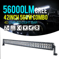 """560W 42INCH 44"""" 4D Curved LED Light Bar Car Combo CREE Spot Flood Offroad N4"""