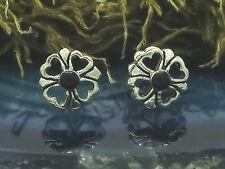 Flor Flores Piedra Negra Plata Genuina 925 Pendiente de Botón Ónix