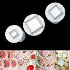 3pcs Square Cube Fondant Cake Cookie Gum Paste Plunger Cutter Decorating Mold