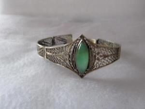 Estate Vintage Antique Chinese Fine Green Jade Filigree 800 Silver Bracelet