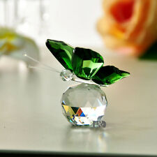 Green Crystal 3D Butterfly Figurine Paperweights Cut Wedding Collectible Gifts
