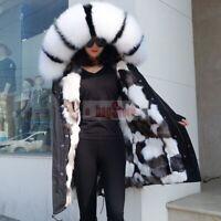 Women's Real Fox/Raccoon Fur Collar Coat Fox Fur Lined Jacket Winter Warm Parka