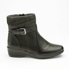women ankle boots black pu knitted top luxury lined inside zip rain resistant