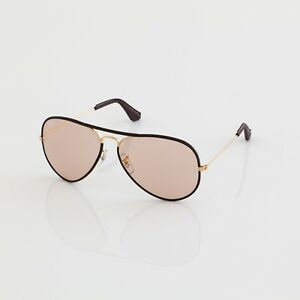NEW VINTAGE B&L RAY BAN L9977 PHOTO BROWN LEATHER CHANGEABLE AVIATOR SUNGLASSES