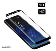 For Samsung Galaxy S8 Edge Clear Curved  Screen Tempered Glass Black R