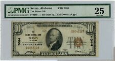 1929 $10 National Currency Note 7084 Selma Alabama 1801-1 PMG 25 Very Fine CH64