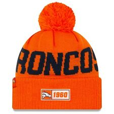 NEW Denver Broncos Beanie NFL New Era On Field 2019 Sport Bobble Hat ROAD