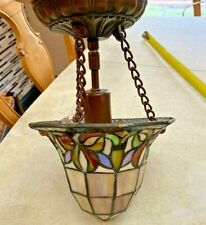 Semi-Flush Mount, Stained Glass, Tiffany Mission Style Fixture