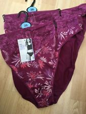 M/&S Lingerie Size 28 Soft Slinky Lace Trim Bikini Briefs Knickers Blackcurrant