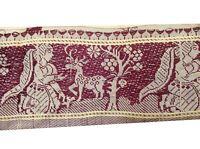 "Om Vintage Indian Sari Border 100% Silk Ivory Lace Ribbon Trim 3.2 W"" L216"