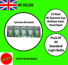 PACK OF 40 SYLVANIA 25W BC OPAL LIGHT BULBS PEARL STANDARD OLD FASHION BULB NEW