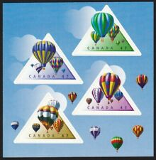 HOT AIR BALLOONS = BACK BK page of 4 TRIANGLE SHAPE Canada 2001 #1921a-d MNH
