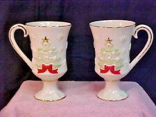 Lenox 2 Very Merry Christmas Tree Mugs/Irish Coffee/Eggnog Not Personalized