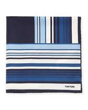 TOM FORD Geo-Stripe Pocket Square Pure Silk Blue BNWT Signature Handkerchief